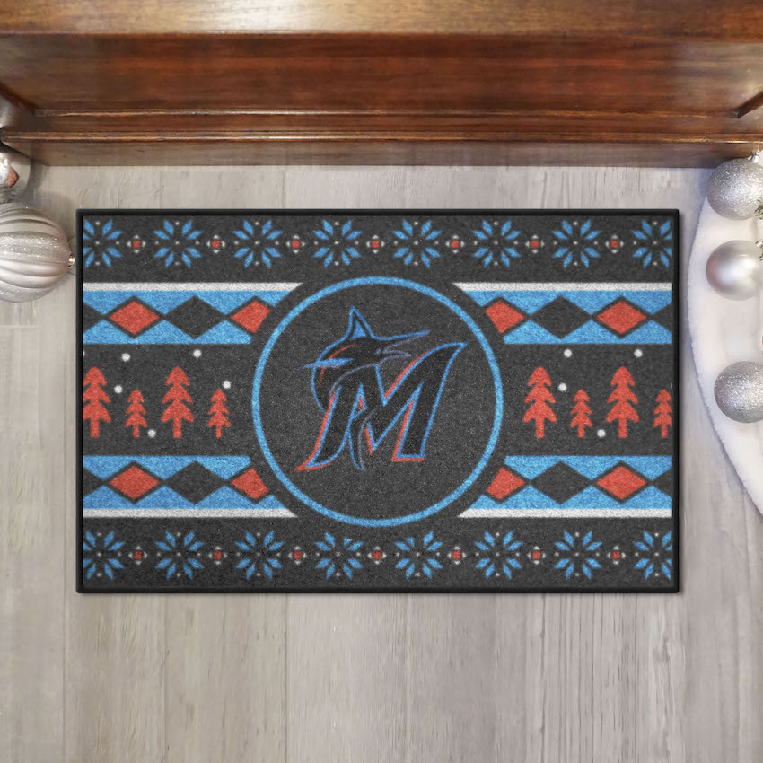 Miami Marlins HOLIDAY SWEATER 20 x 30 STARTER Floor Mat