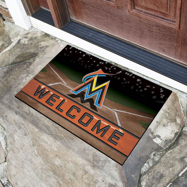 Miami Marlins Recycled Crumb Rubber Door Mat