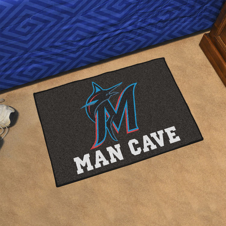Miami Marlins MAN CAVE 20 x 30 STARTER Floor Mat