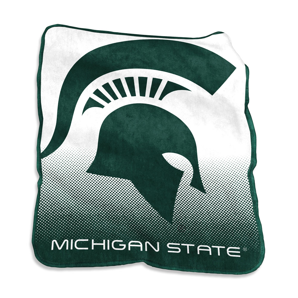 Michigan State Spartans Logo Raschel Blanket