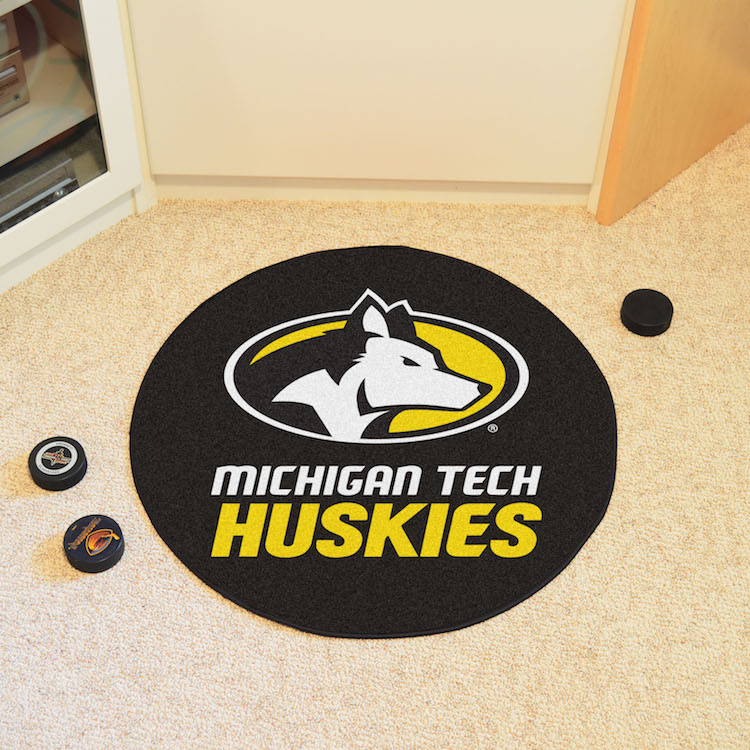 Michigan Tech Huskies Round Hockey Puck Mat