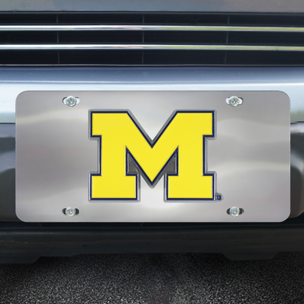 Michigan Wolverines Stainless Steel Die-cast License Plate