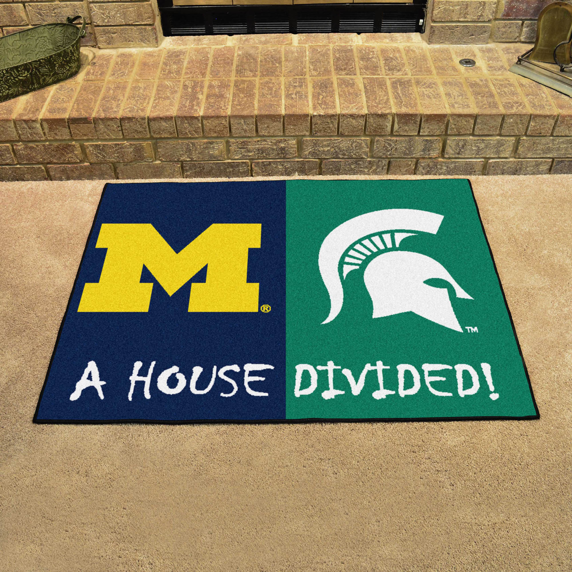 NCAA House Divided Rivalry Rug Michigan Wolverines - Michigan State Spartans