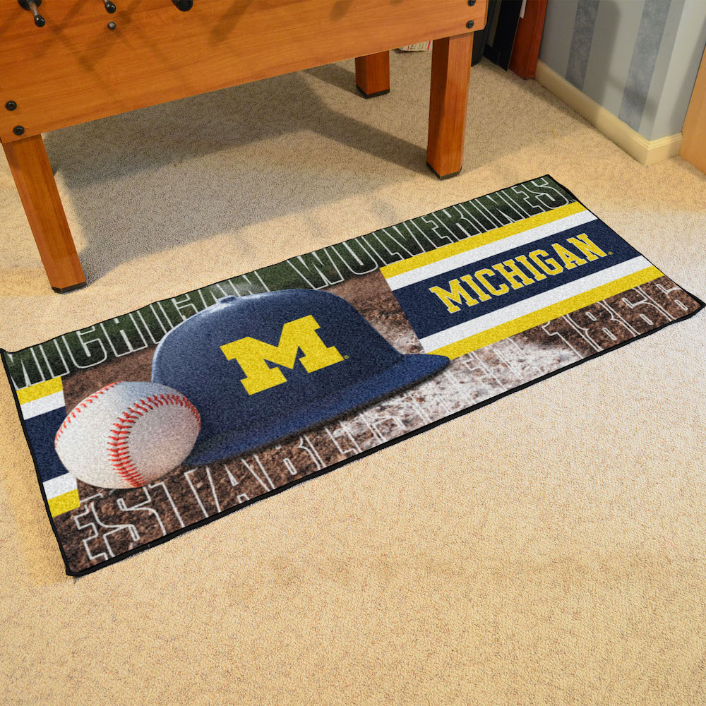 Michigan Wolverines 30 x 72 Baseball Carpet Runner