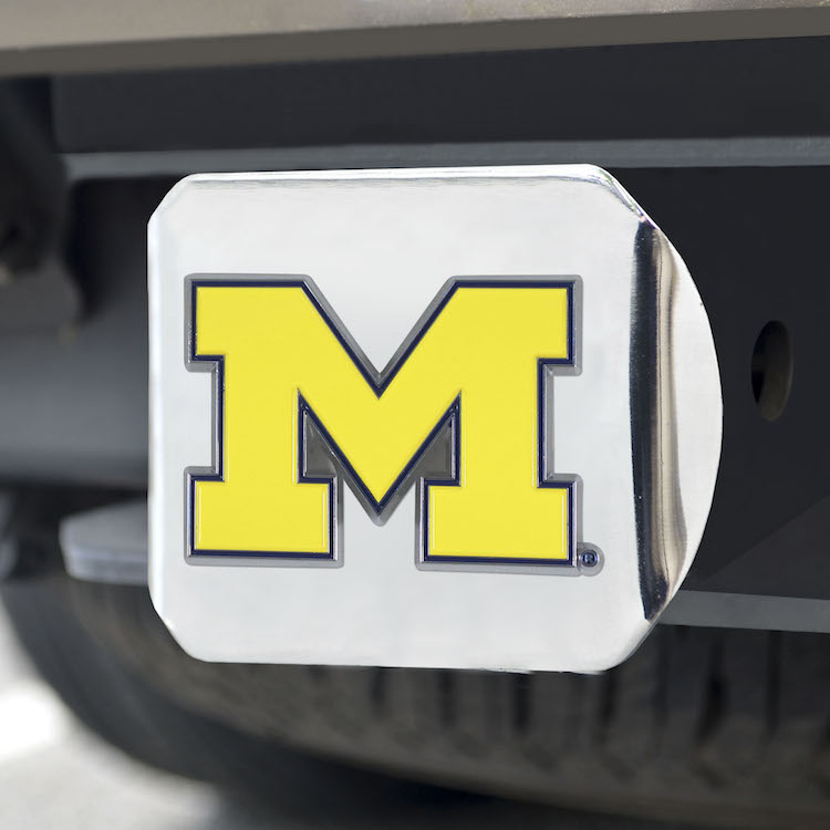 Michigan Wolverines Color Chrome Trailer Hitch Cover