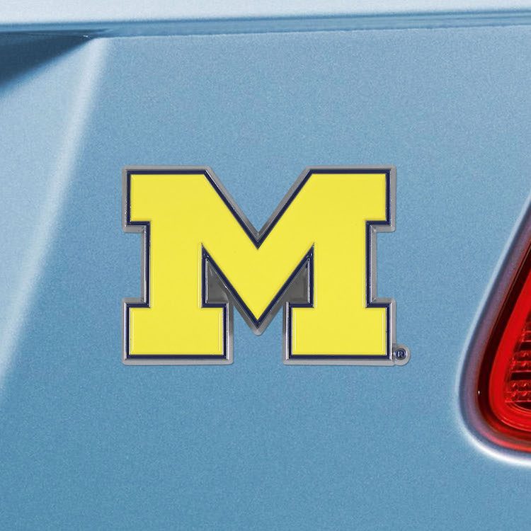 Michigan Wolverines Color Metal Auto Emblem