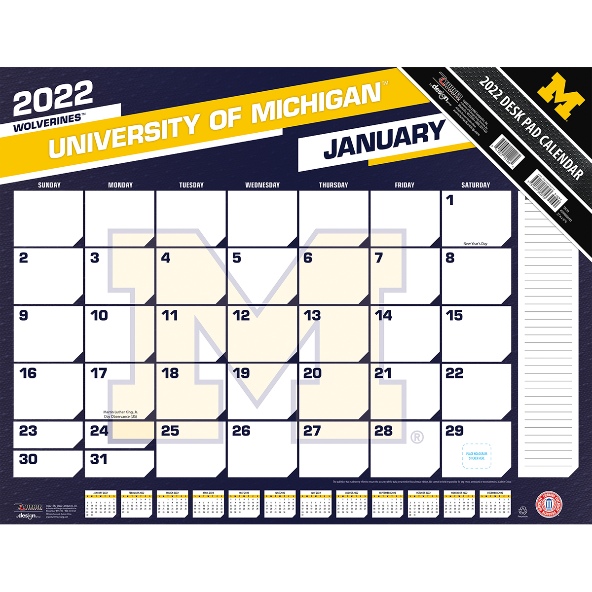 Michigan Wolverines 2021 NCAA 22 X 17 Desk Calendar