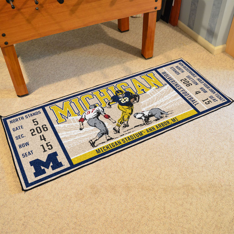 Michigan Wolverines 30 x 72 Game Ticket Carpet Runner