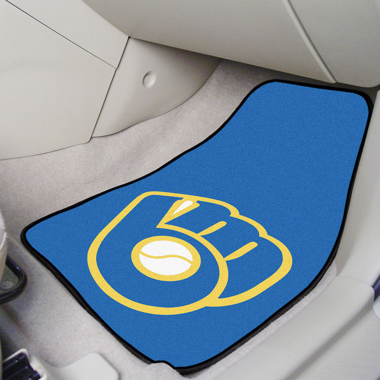 Milwaukee Brewers MB LOGO MB LOGO Car Floor Mats 18 x 27 Carpeted-Pair