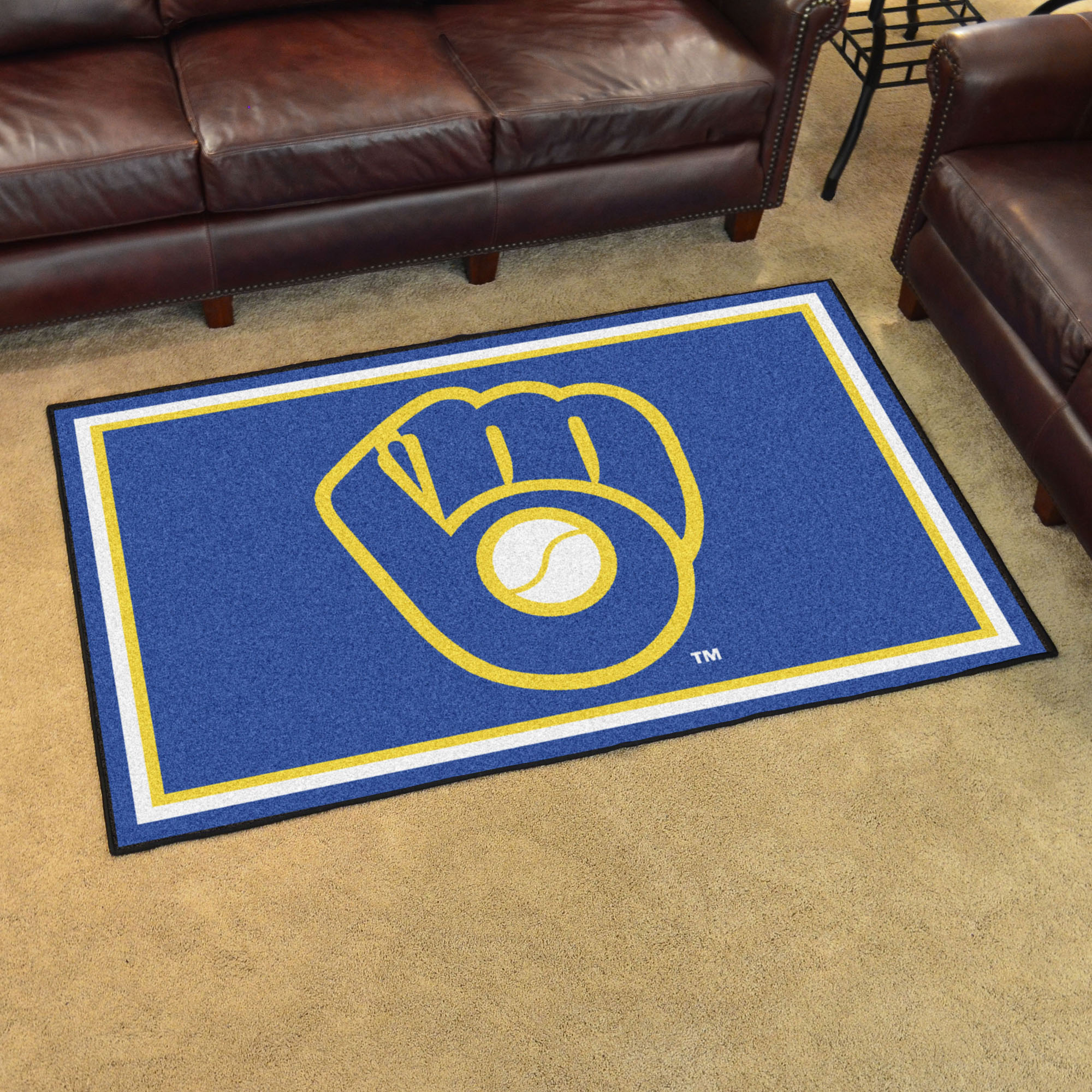 Milwaukee Brewers MB LOGO MB LOGO 4x6 Area Rug
