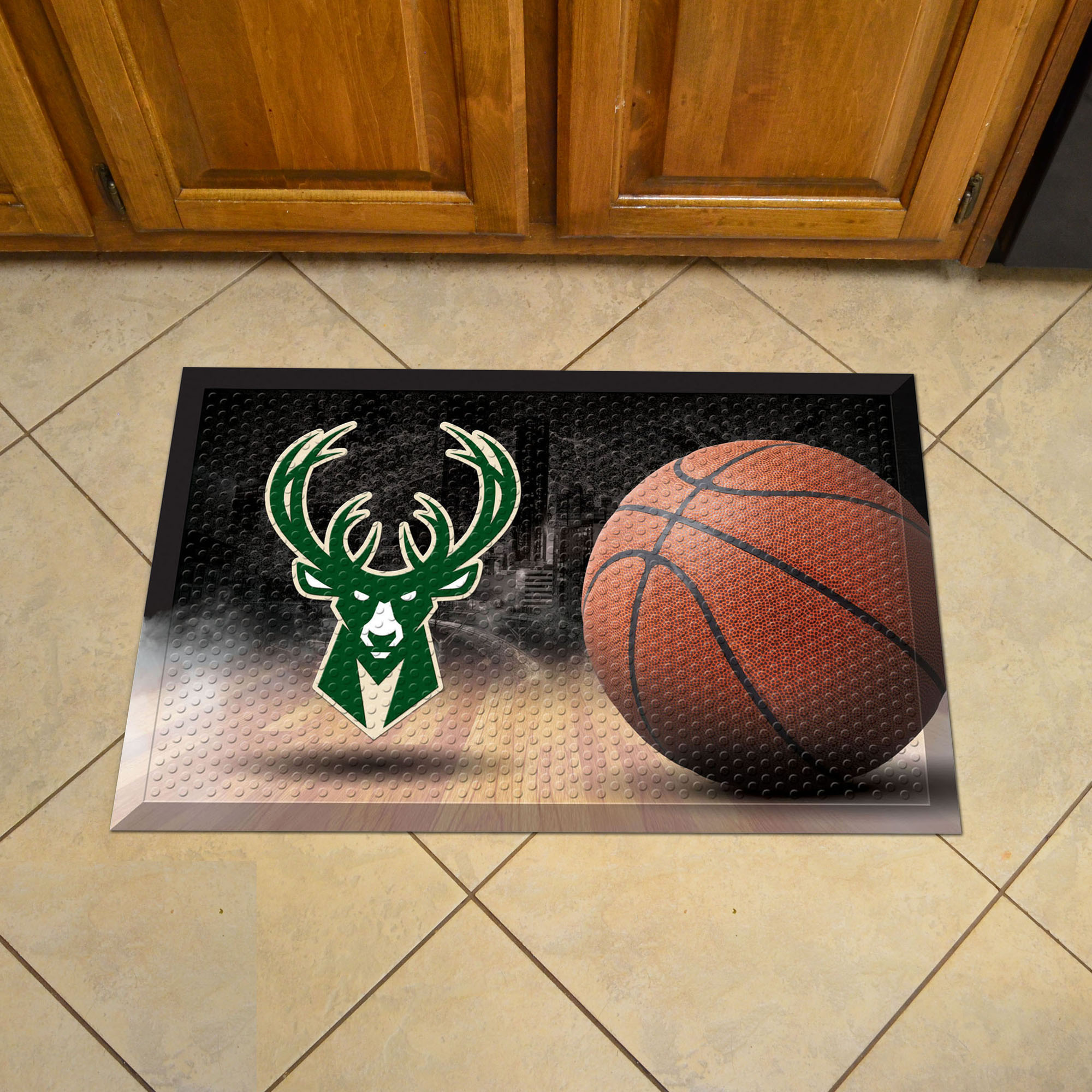 Milwaukee Bucks Ball Style SCRAPER Door Mat