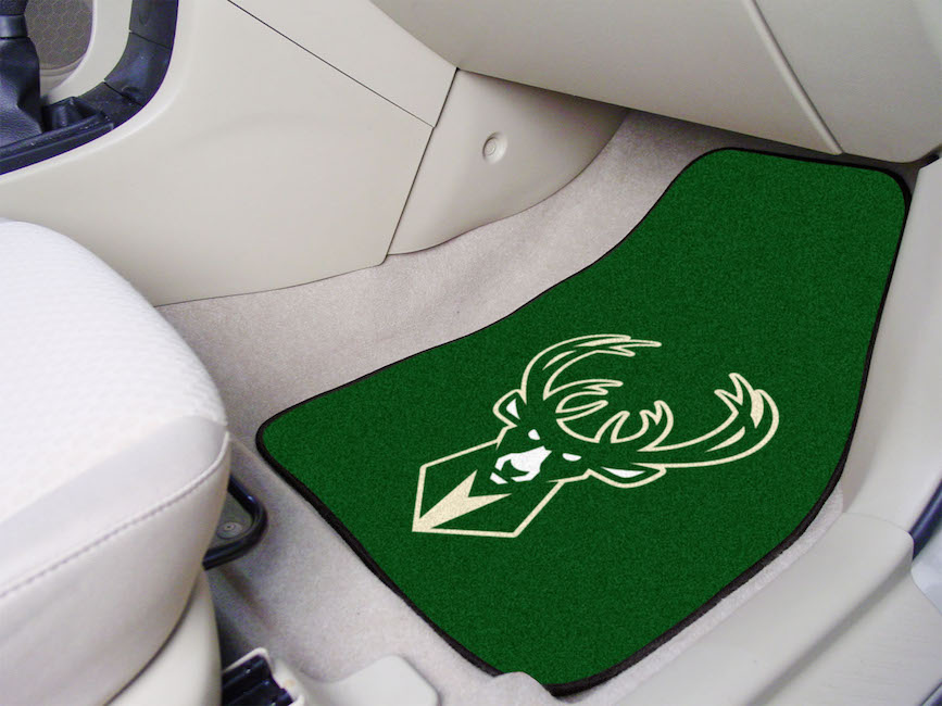 Milwaukee Bucks Car Floor Mats 18 x 27 Carpeted-Pair