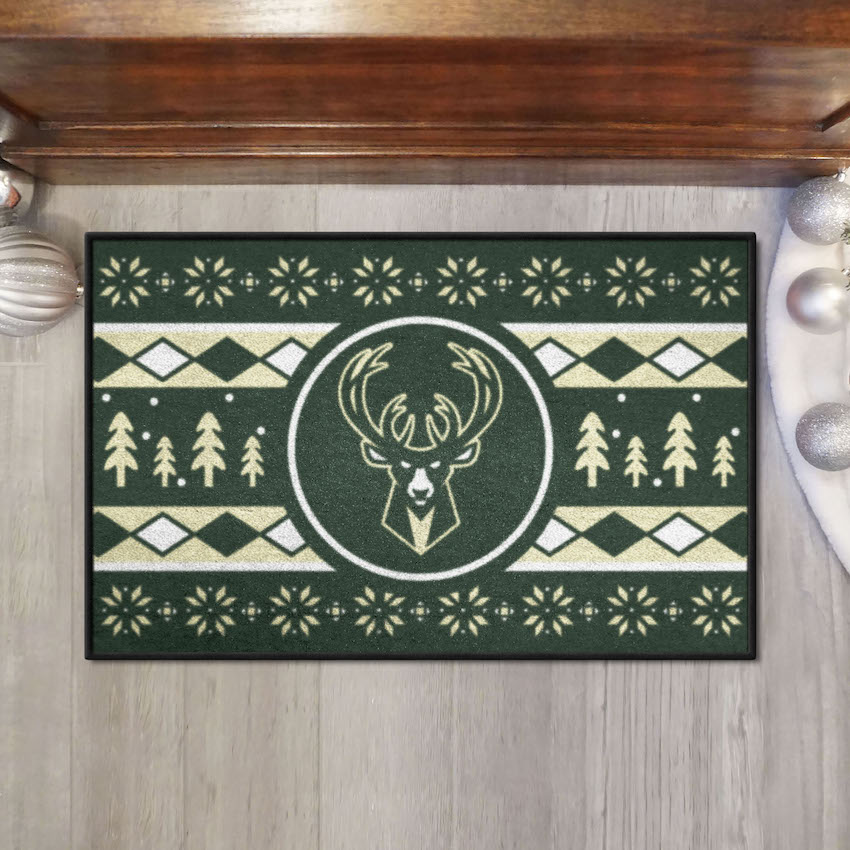 Milwaukee Bucks HOLIDAY SWEATER 20 x 30 STARTER Floor Mat