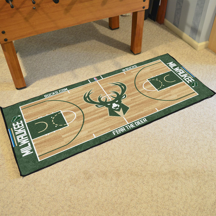 Milwaukee Bucks 30 x 54 LARGE Basketball Court Carpet Runner