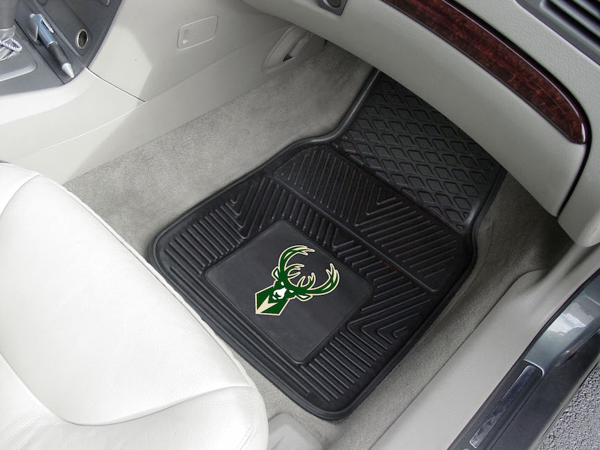 Milwaukee Bucks Car Floor Mats 18 x 27 Heavy Duty Vinyl Pair