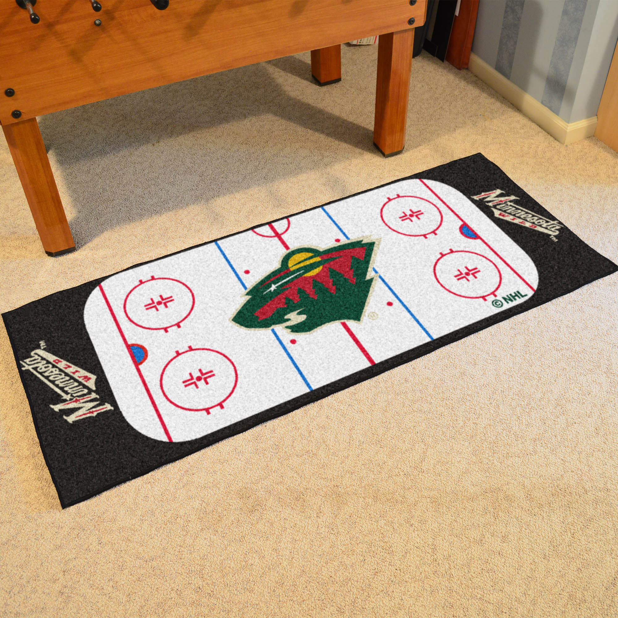 Minnesota Wild 30 x 72 Hockey Rink Carpet Runner