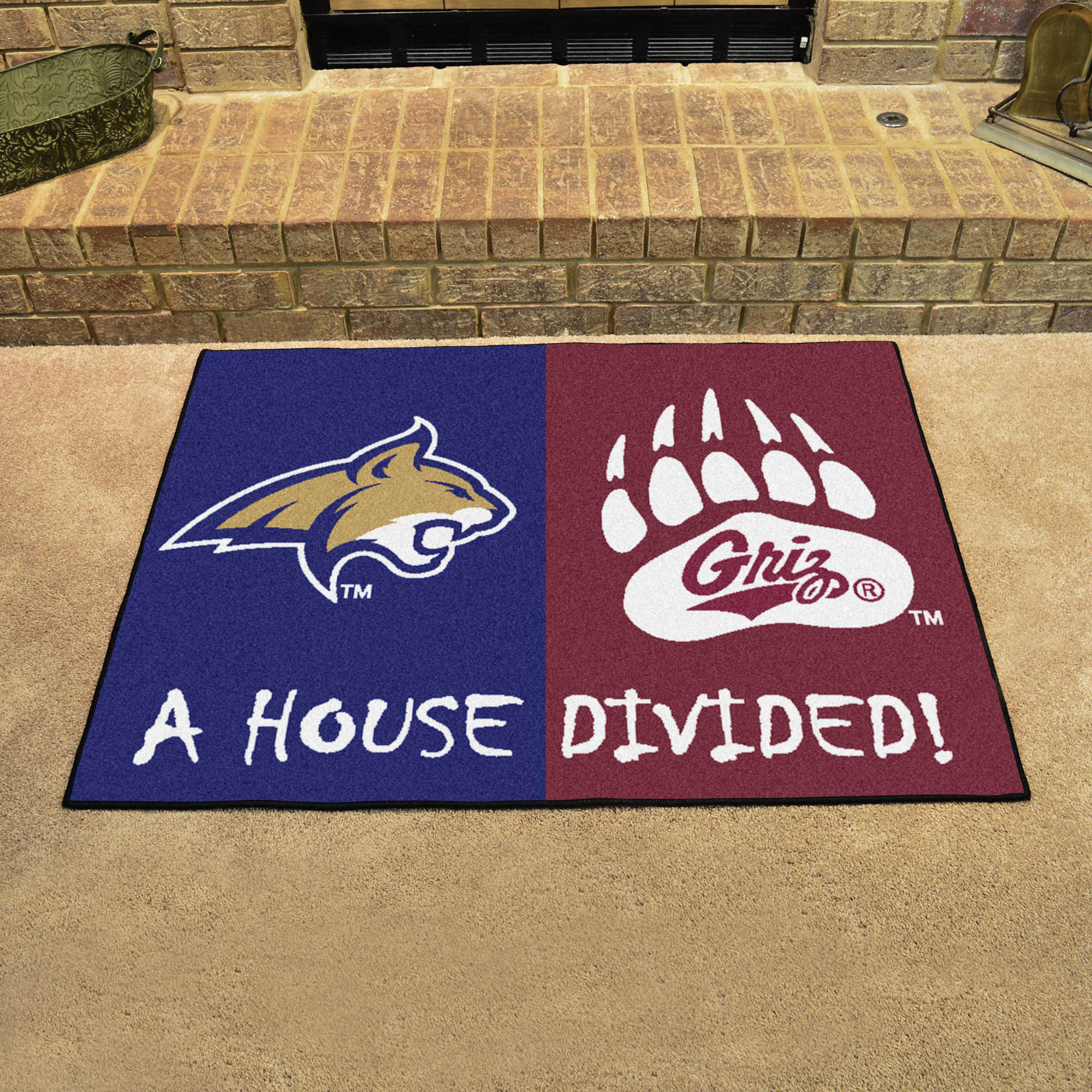 NCAA House Divided Rivalry Rug Montana State Bobcats - Montana Grizzlies