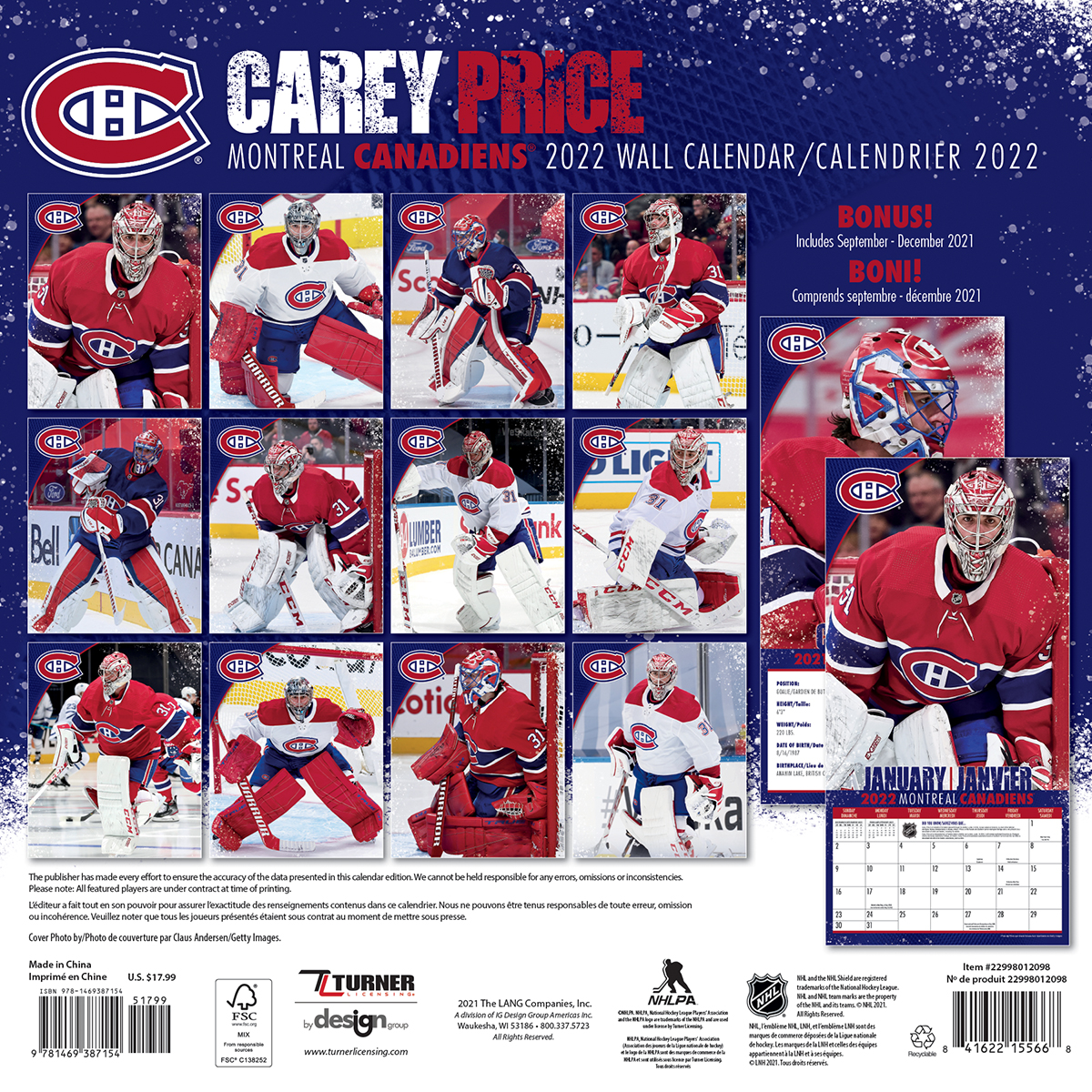 Montreal Canadiens Carey Price 2021 Nhl Wall Calendar Buy At Khc Sports
