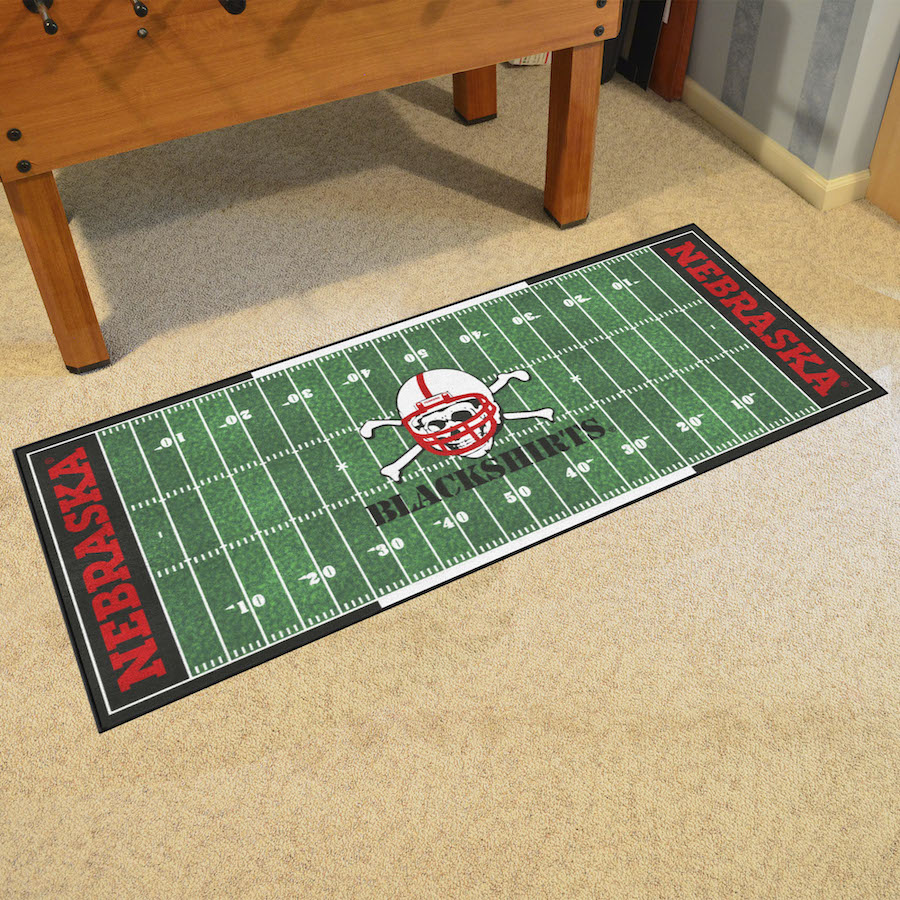 Nebraska Cornhuskers BLACKSHIRTS 30 x 72 Football Field Carpet Runner