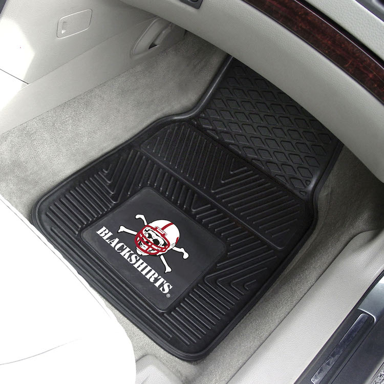 Nebraska Cornhuskers BLACKSHIRTS Car Floor Mats 18 x 27 Heavy Duty Vinyl Pair