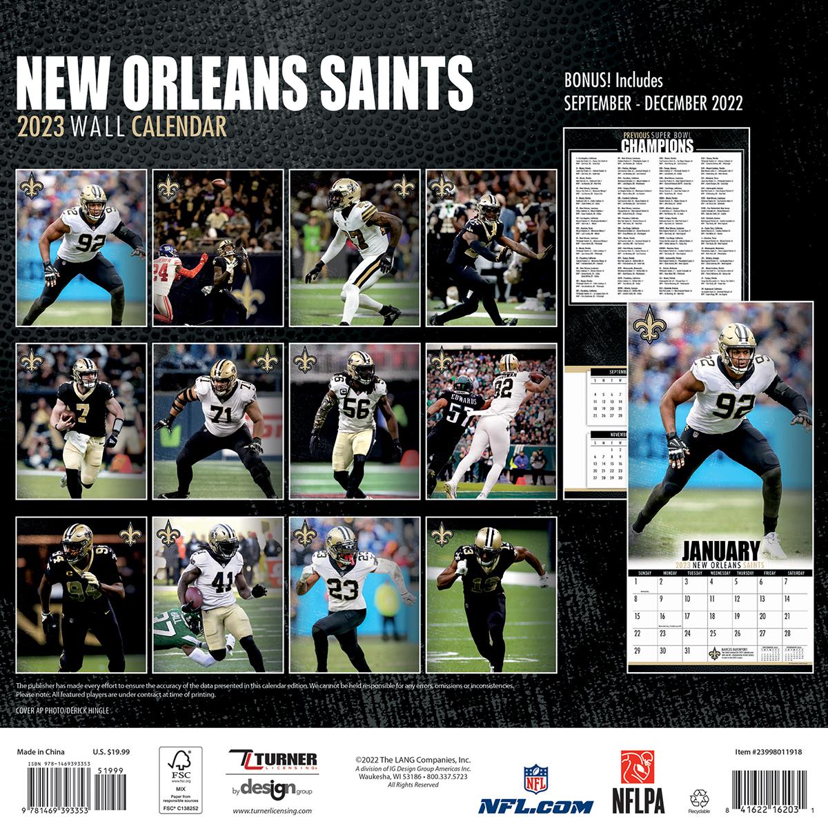 New Orleans Saints 2018 Nfl Wall Calendar Buy At Khc Sports