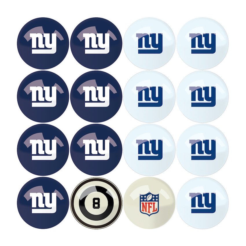 New York Giants Home and Away Billiard Ball Set