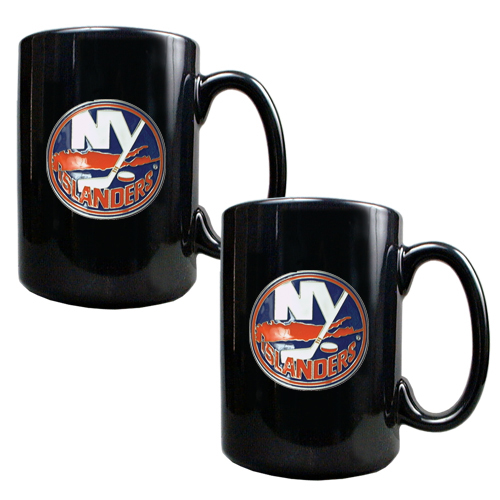New York Islanders 2pc Black Ceramic NHL Coffee Mug Set
