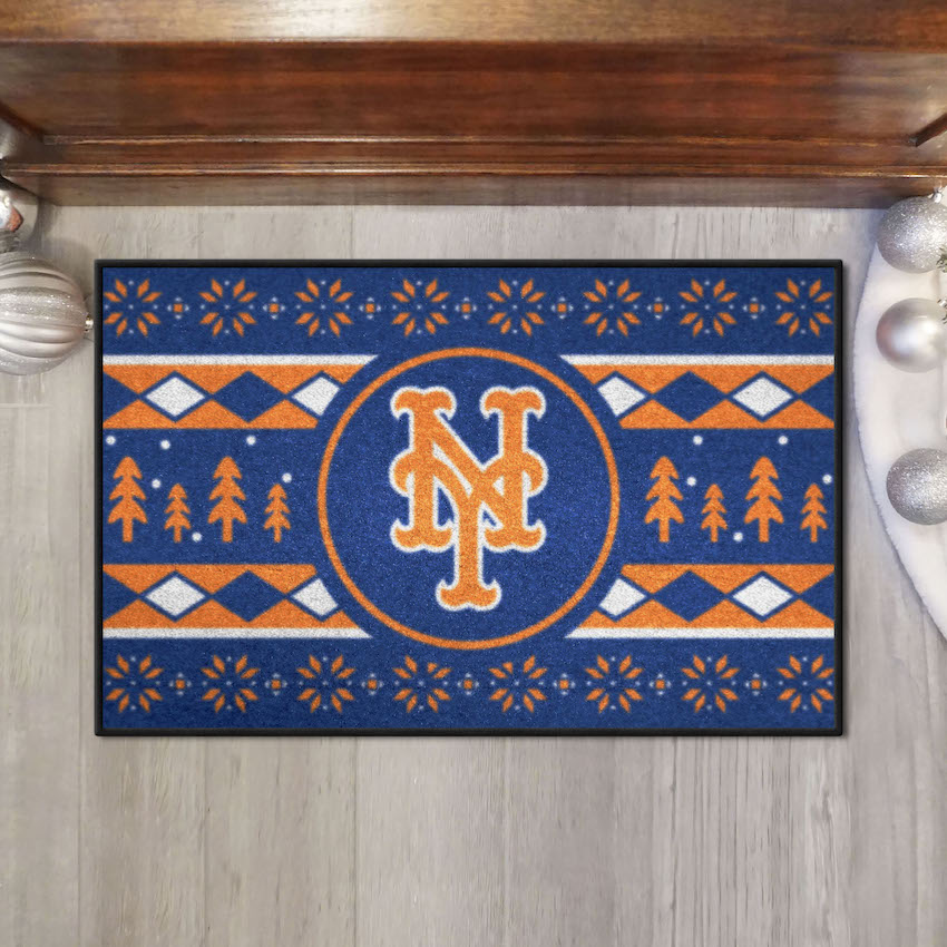 New York Mets HOLIDAY SWEATER 20 x 30 STARTER Floor Mat