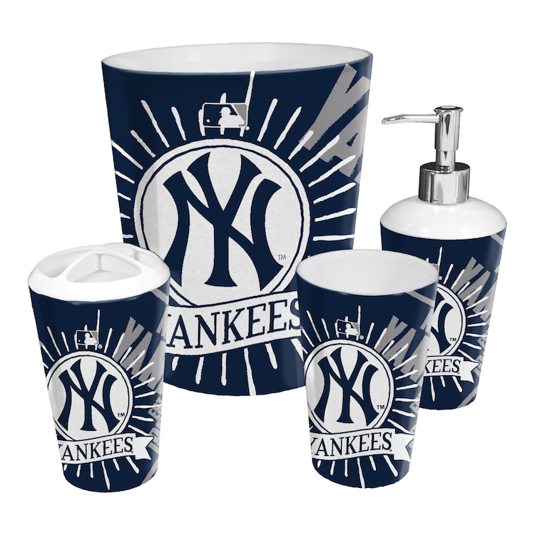 New York Yankees 4 Piece Bathroom Accessory Set Buy At