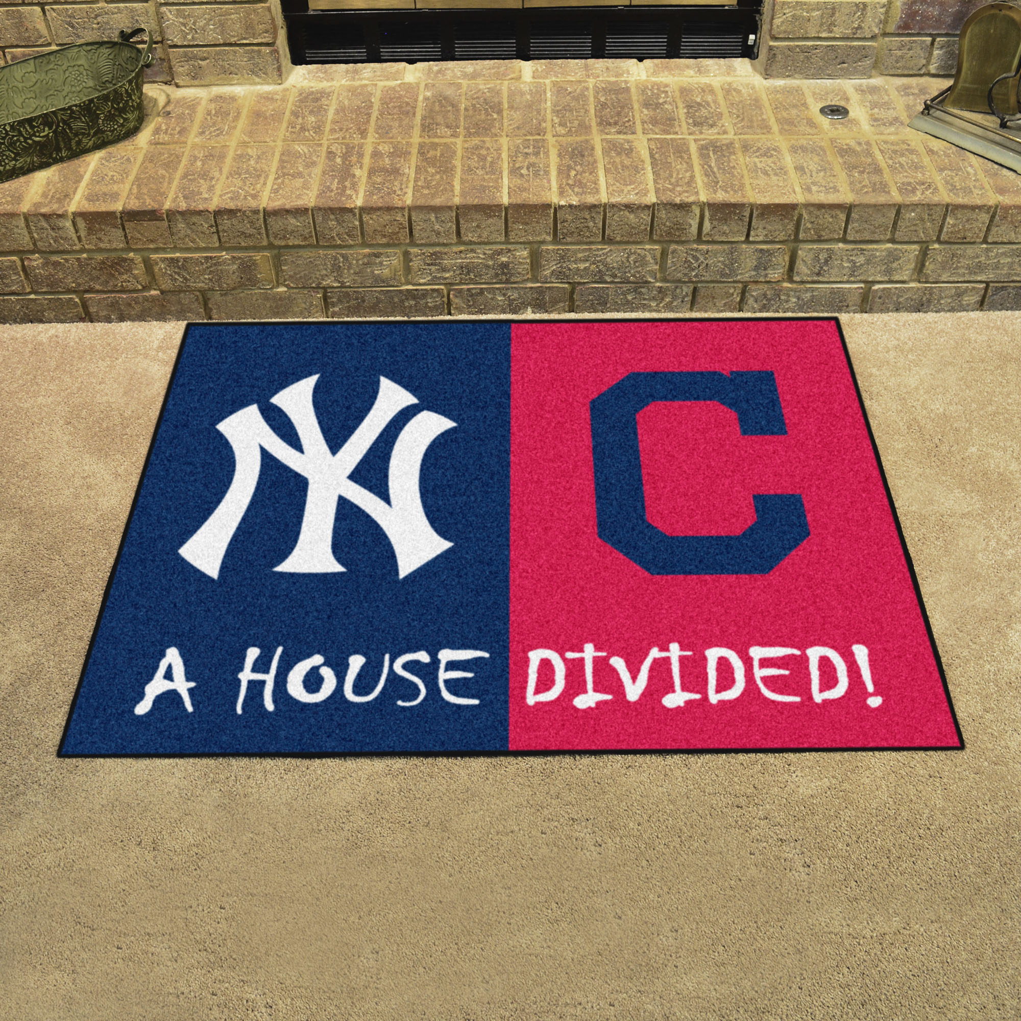 MLB House Divided Rivalry Rug New York Yankees - Cleveland Indians