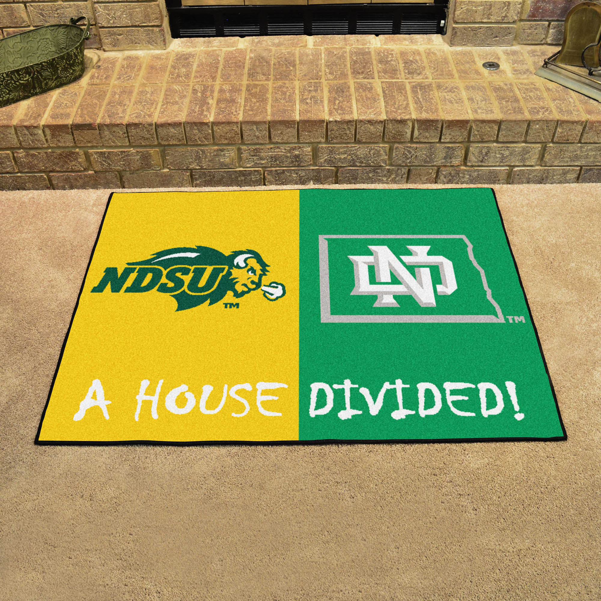 NCAA House Divided Rivalry Rug North Dakota State Bison - North Dakota Fighting Sioux