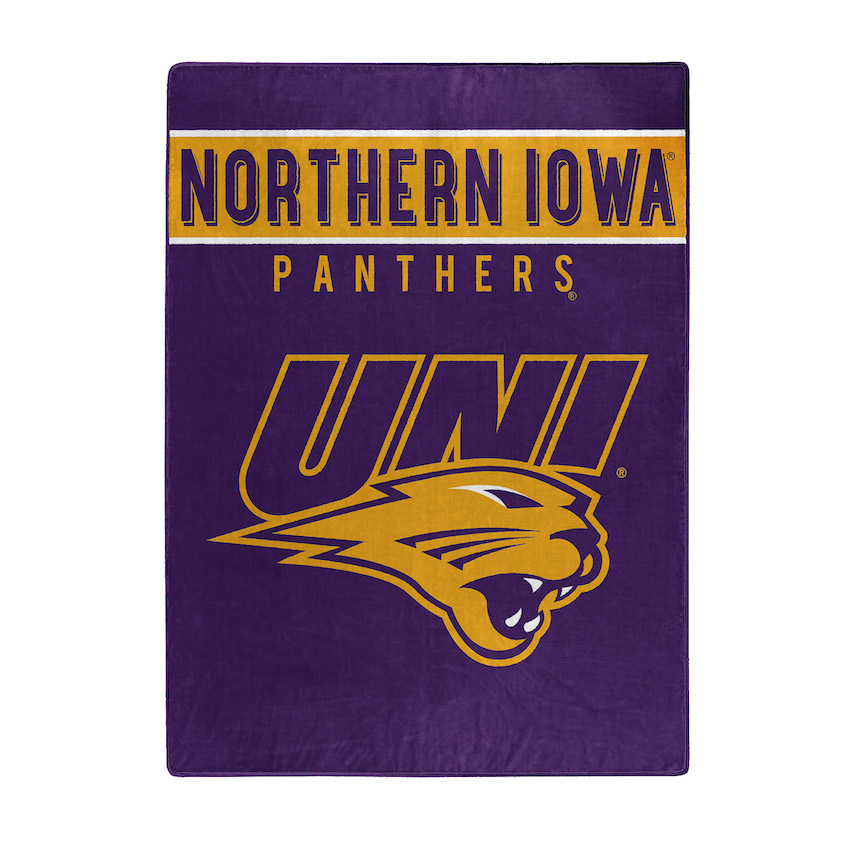 Northern Iowa Panthers Large Plush Fleece OVERTIME 60 x 80 Blanket
