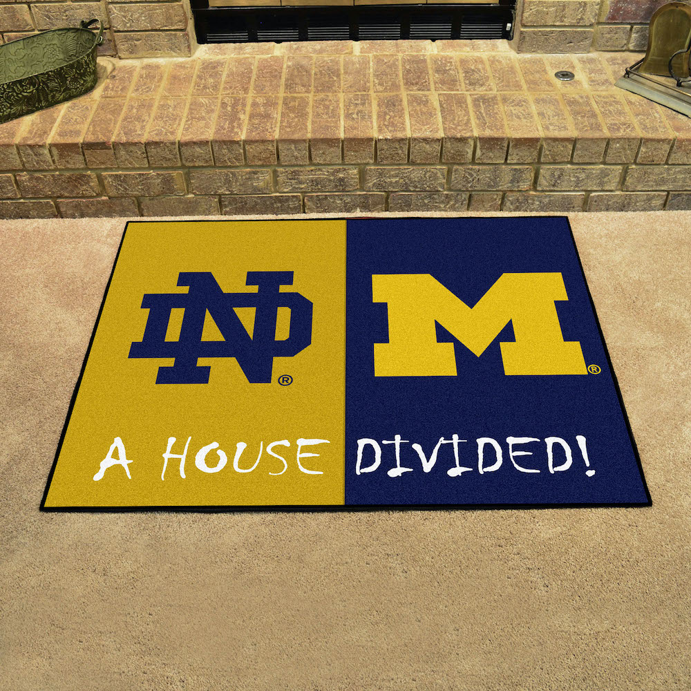 NCAA House Divided Rivalry Rug Notre Dame Fighting Irish - Michigan Wolverines