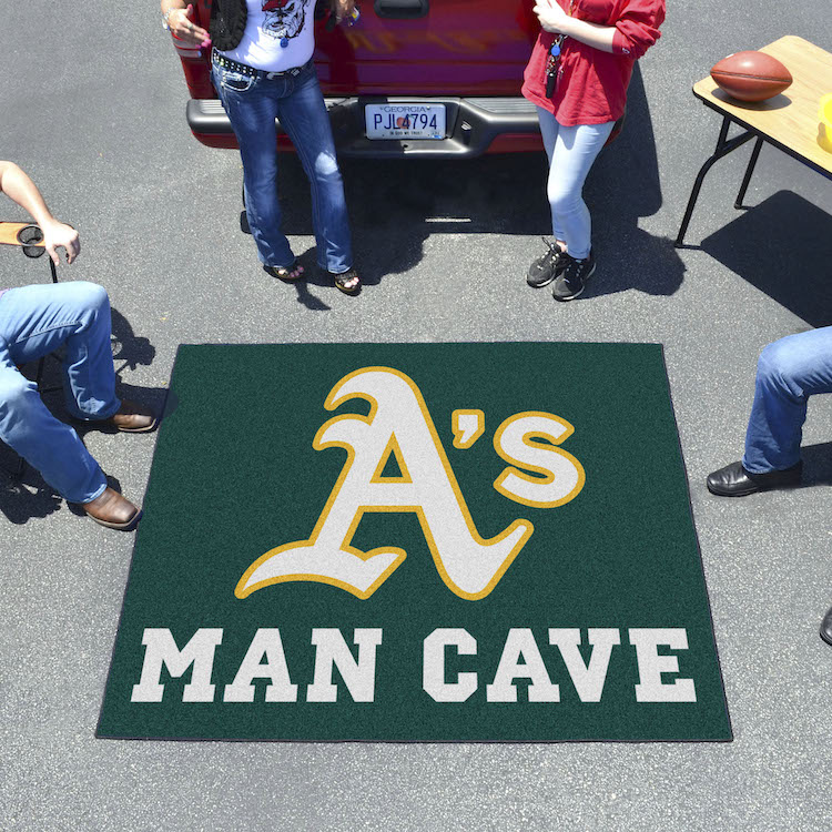 Oakland A's MAN CAVE TAILGATER 60 x 72 Rug