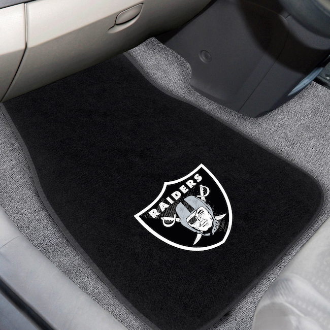 Oakland Raiders Car Floor Mats 17 x 26 Embroidered Pair