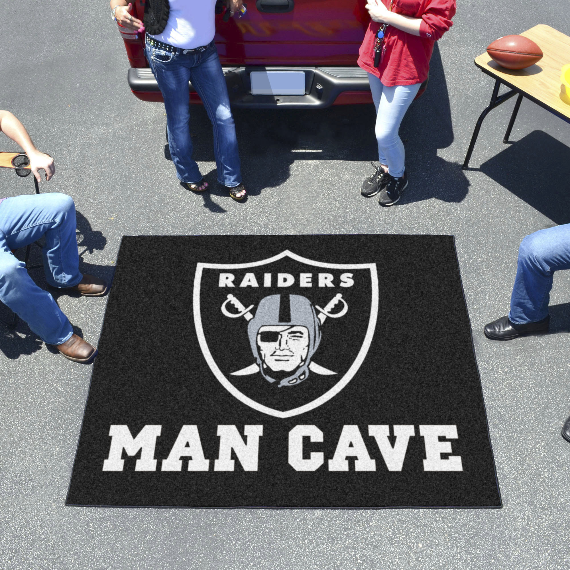 Oakland Raiders MAN CAVE TAILGATER 60 x 72 Rug