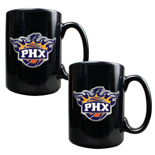 Phoenix Suns 2pc Black Ceramic NBA Coffee Mug Set