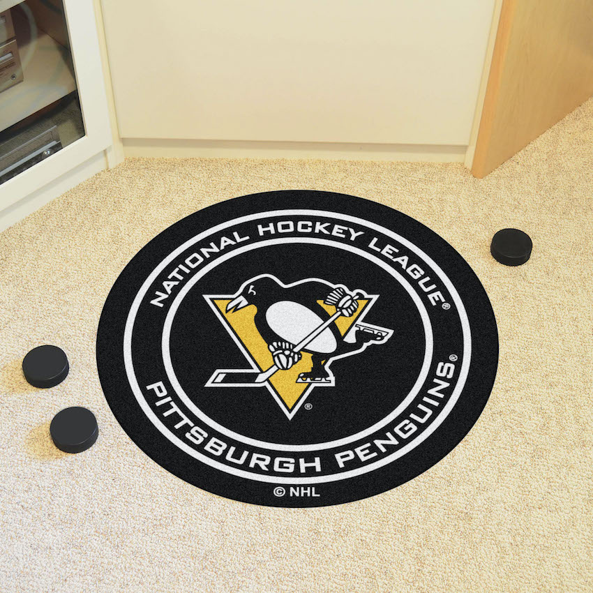 Pittsburgh Penguins Round Hockey Puck Mat