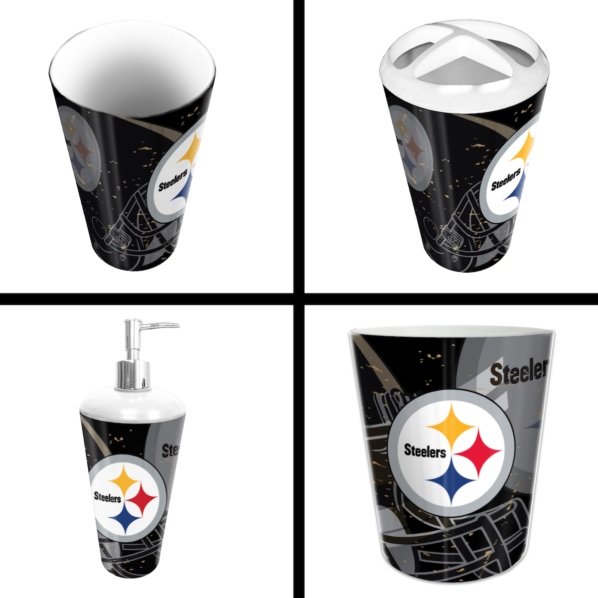 pittsburgh steelers 4 piece bathroom accessory set buy at khc sports. Black Bedroom Furniture Sets. Home Design Ideas