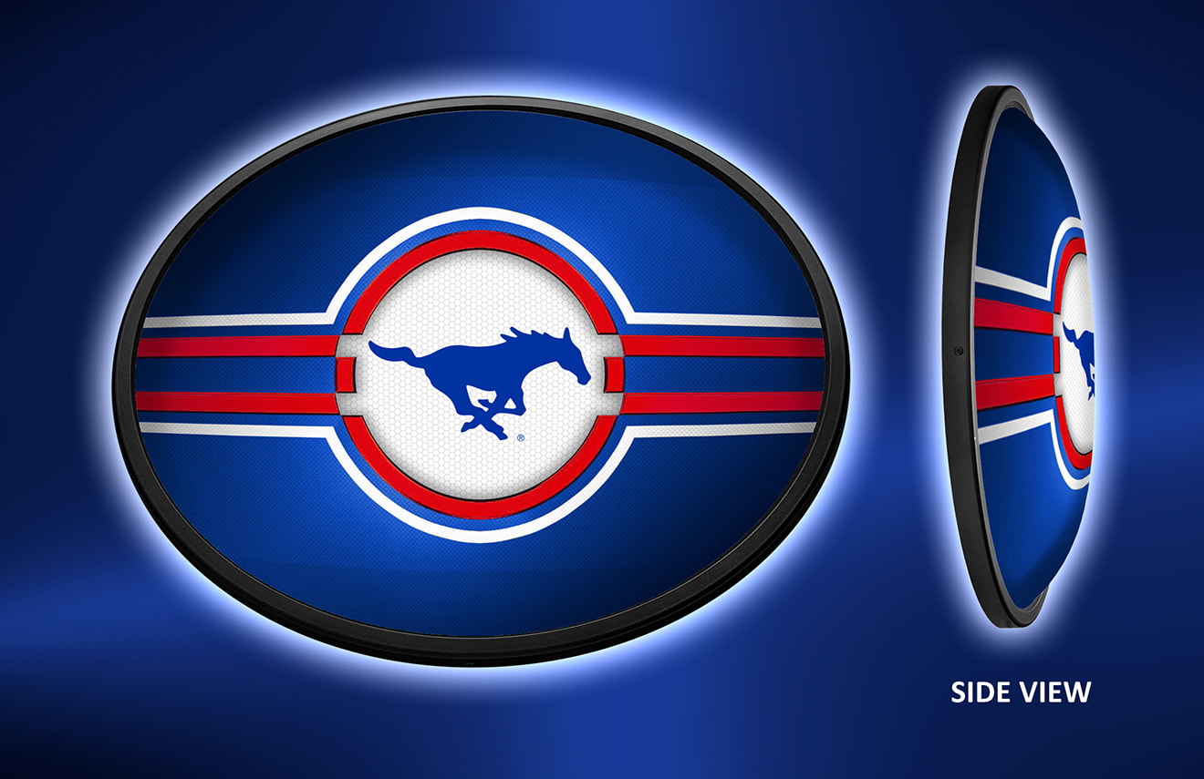 SMU Mustangs Slimline LED Wall Sign ~ OVAL PRIMARY