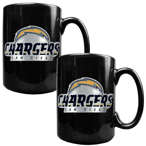 San Diego Chargers Bedding Sets: San Diego Chargers 2pc Black Ceramic NFL Coffee Mug Set