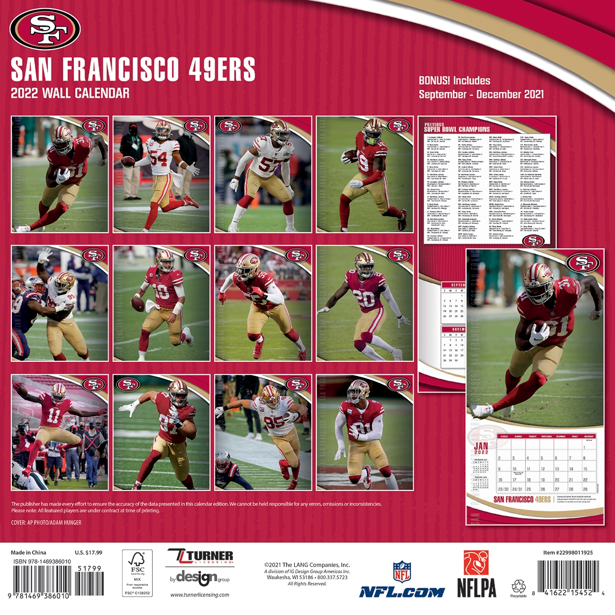 San Francisco 49ers 2018 Nfl Wall Calendar Buy At Khc Sports