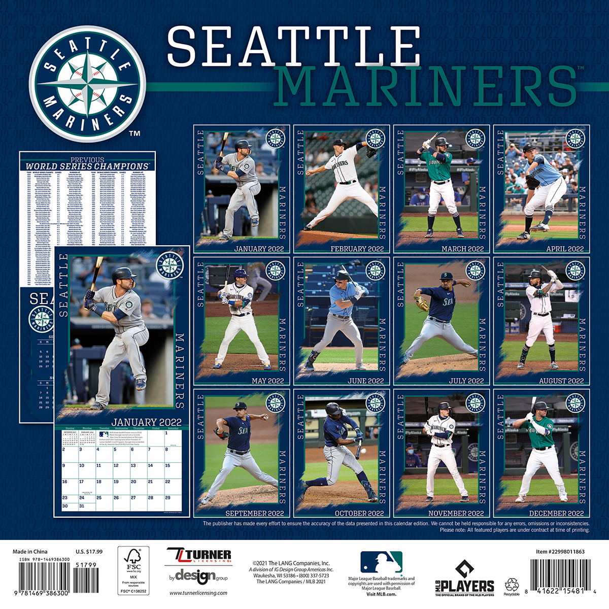 Seattle Mariners 2018 Wall Calendar - Buy at KHC Sports