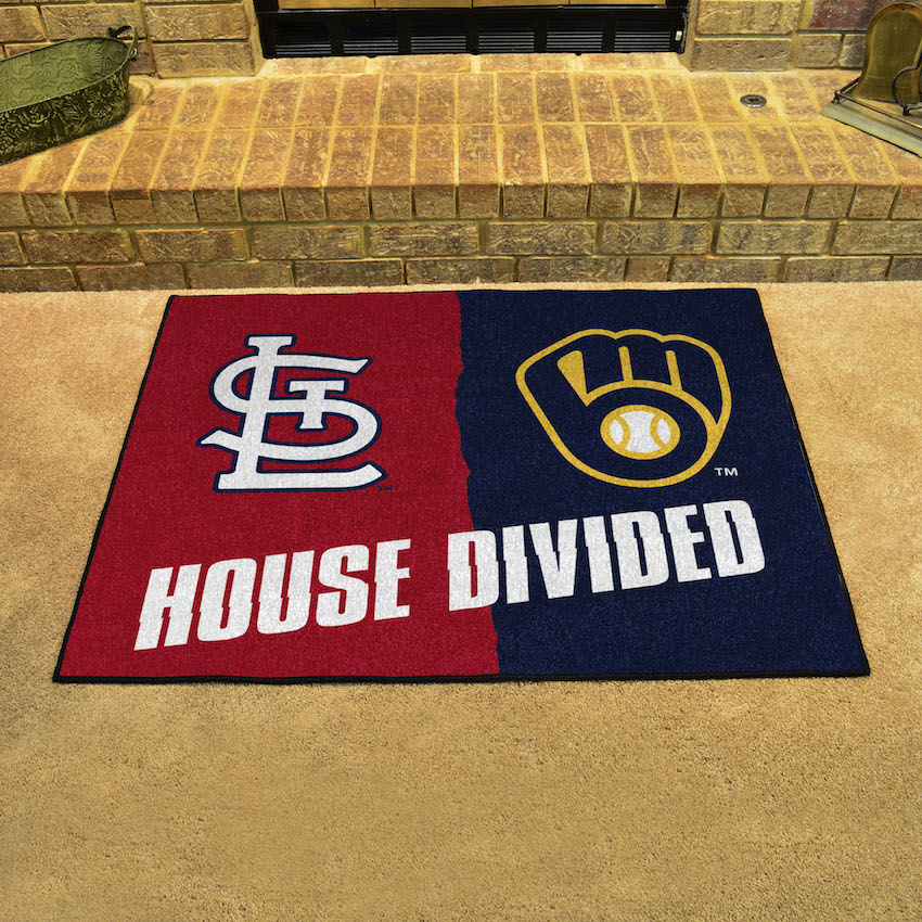 MLB House Divided Rivalry Rug St. Louis Cardinals - Milwaukee Brewers