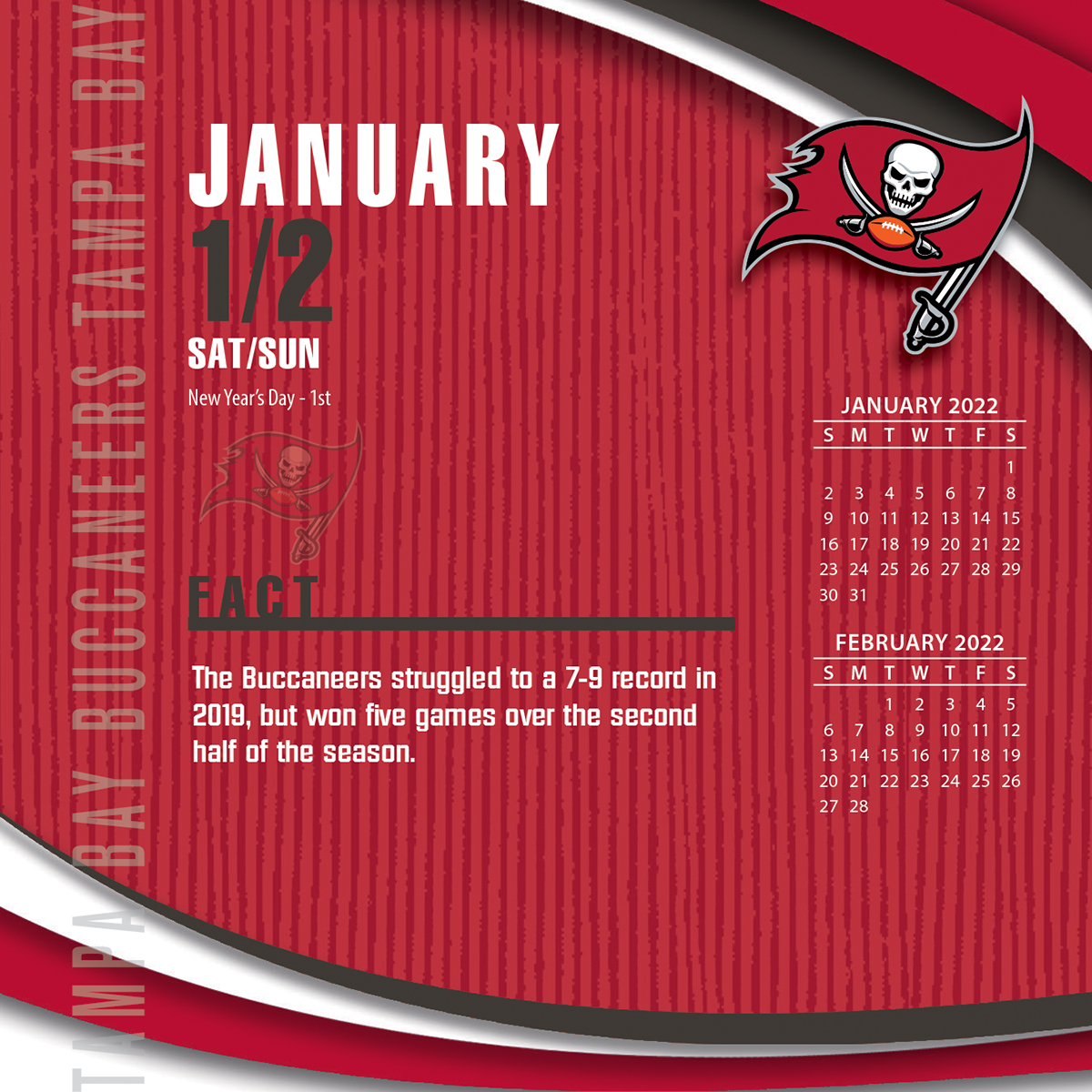 Tampa Bay Buccaneers 2019 Nfl Page A Day Box Calendar