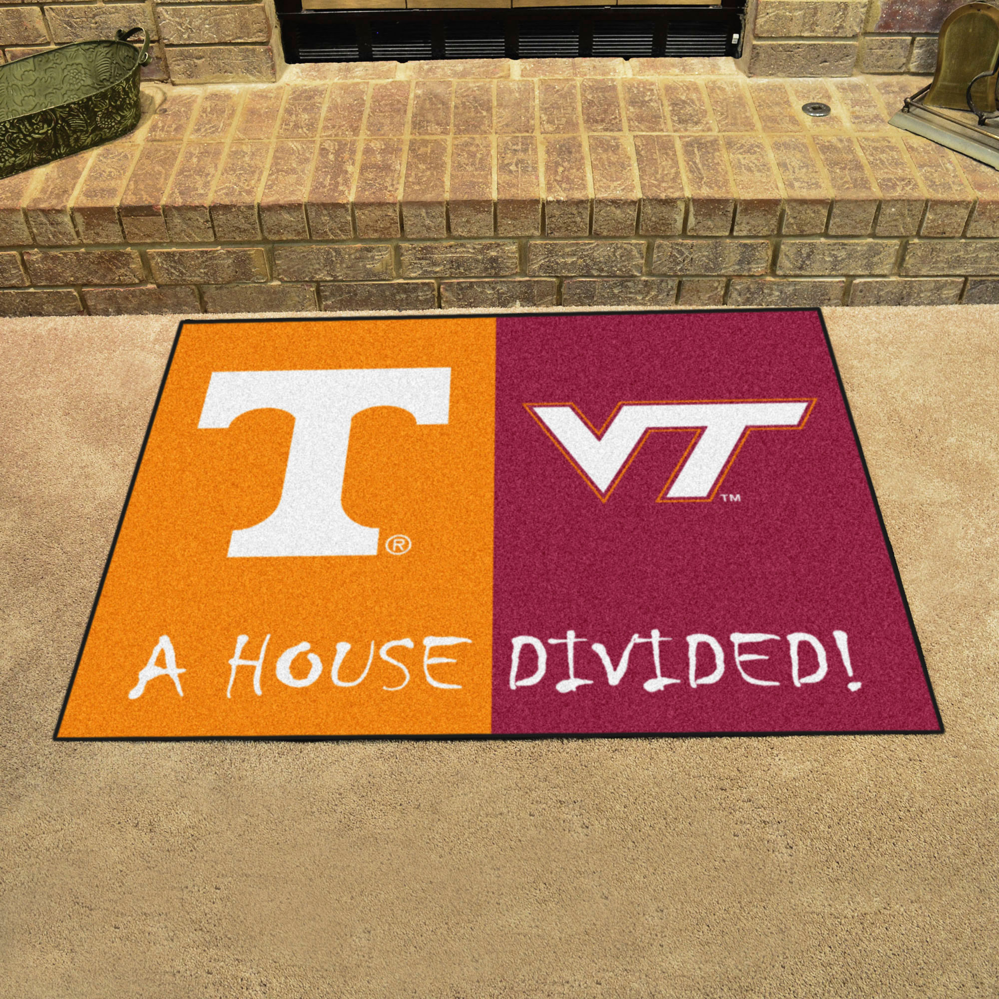NCAA House Divided Rivalry Rug Tennessee Volunteers - Virginia Tech Hokies