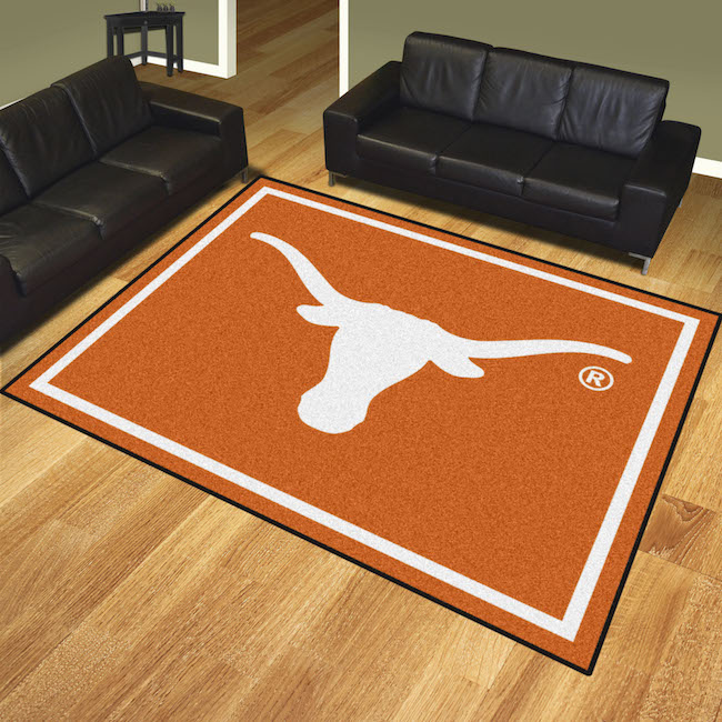 Texas longhorns ultra plush 8x10 area rug buy at khc sports for Cowhide rug houston
