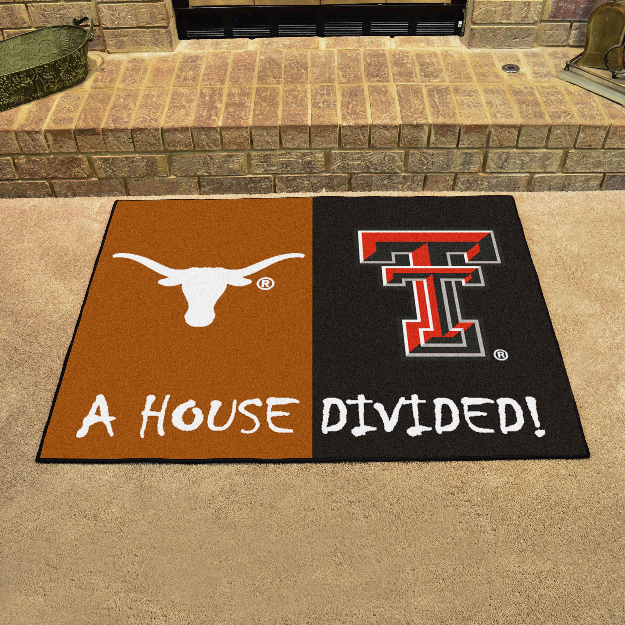 NCAA House Divided Rivalry Rug Texas Longhorns - Texas Tech Red Raiders