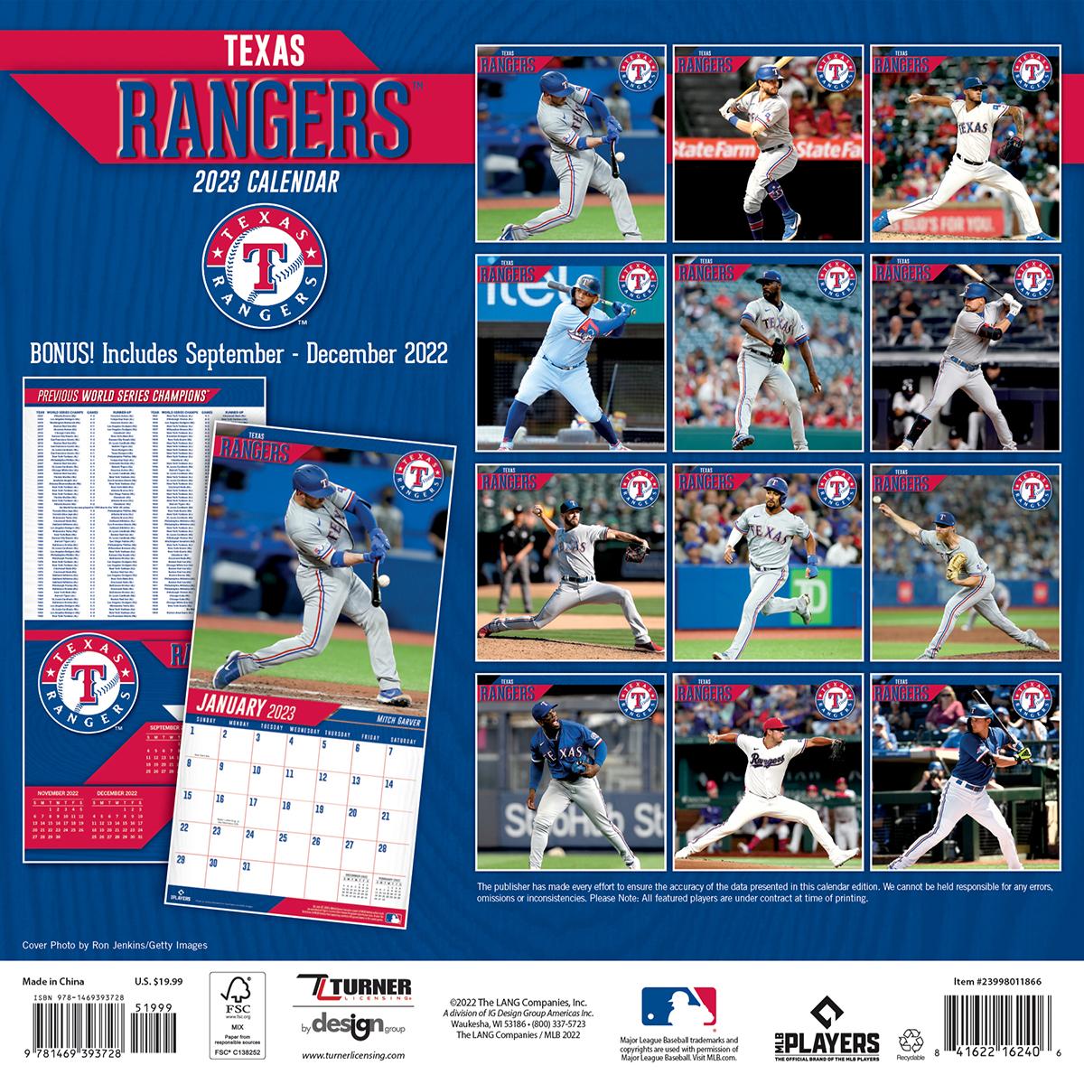 Texas Rangers 2018 Wall Calendar Buy At Khc Sports