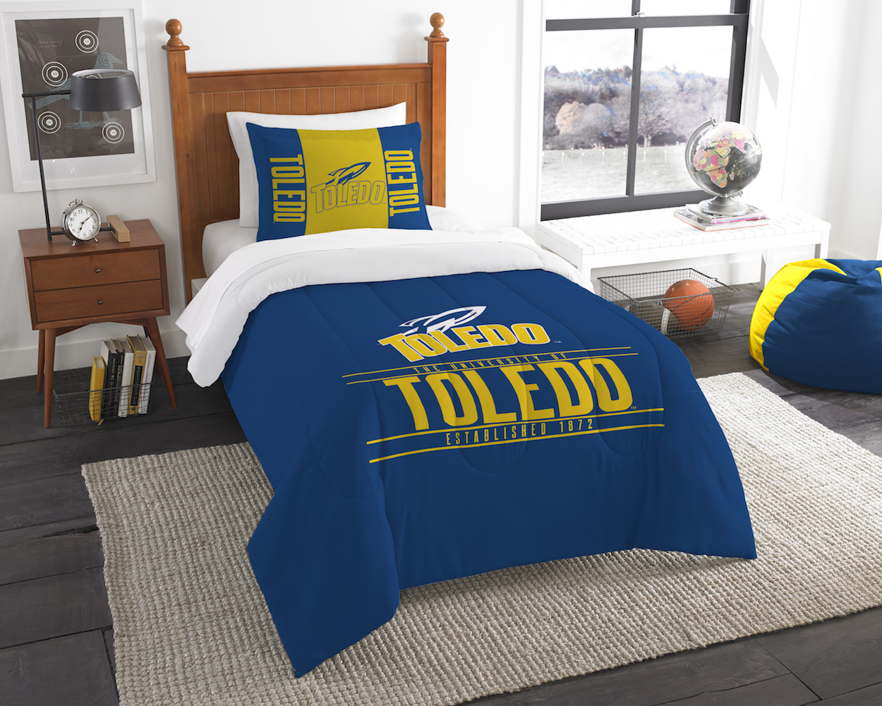 Toledo Rockets Twin Comforter Set with Sham